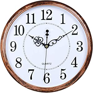 AKKODZ 12 inch Round Classic Clock Retro Silent Non-Ticking Quartz Decorative Battery Operated Wall Clock for Living Room Kitchen Home Office (Bronze)