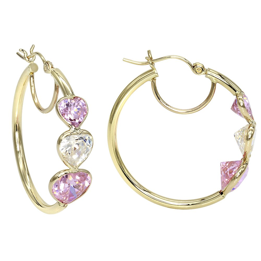 Aleksa 14k Yellow Gold Three-stones Heart shape CZ White and Pink color Cubic-Zirconia Hoops Earrings