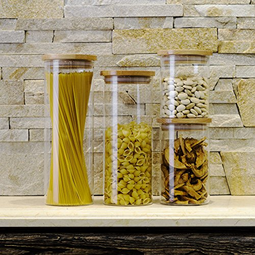 Review STACK UP Transparent Food Storage Canister – Safe Clear Borosilicate Glass Jar with Wooden Lid – Perfect Container for Kitchen Organization – Keeps Food Dry and Fresh – Cylinder, Capacity 16.9 fl oz.