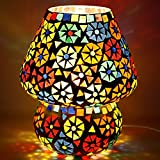 earthenmetal Handcrafted Dome Shaped Multicolour Flower Design Glass Table Lamp (Small 16 cm)