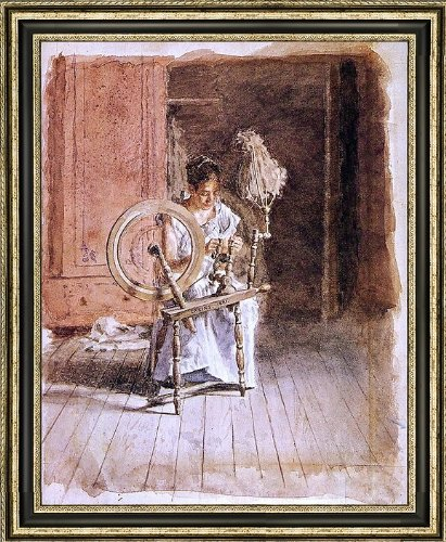 "Thomas Eakins Spinning - 20"" x 25"" Framed Premium Canvas Print"