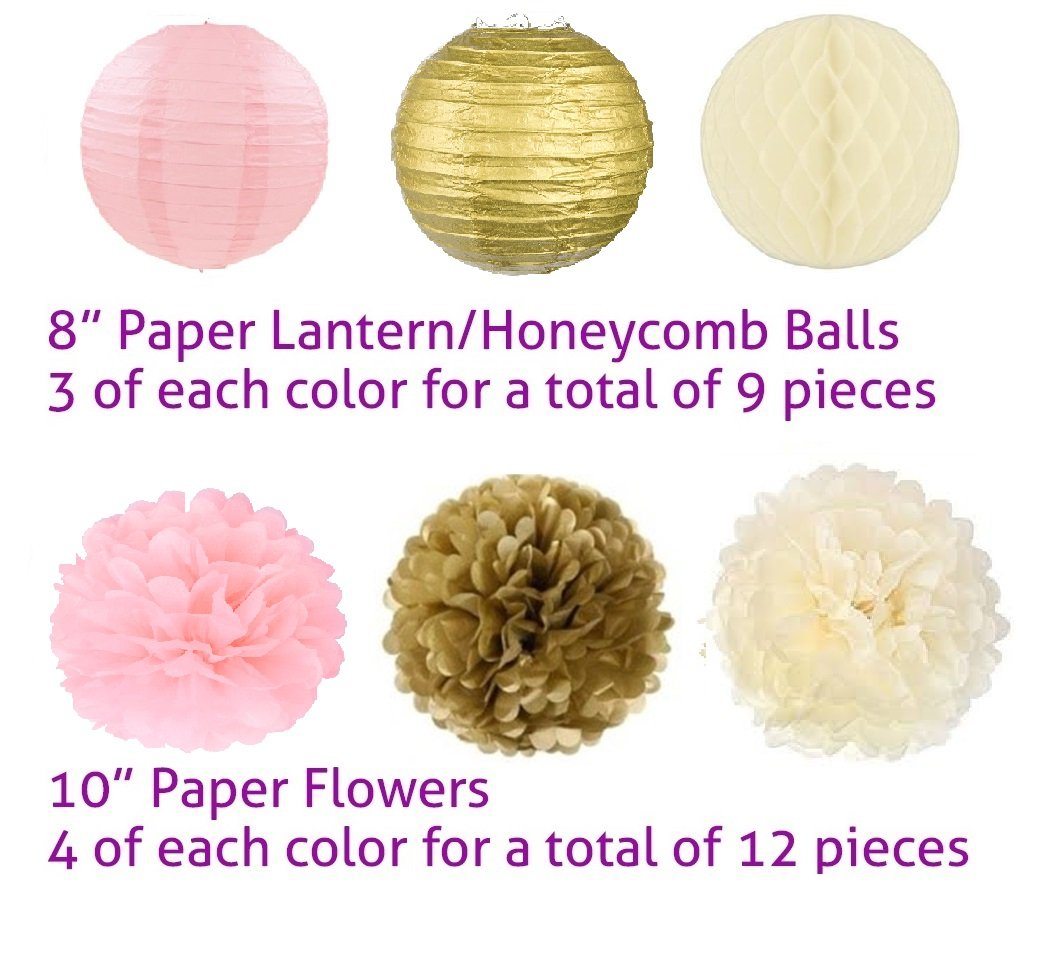 Adorable Mixed Pink Gold Ivory Party Decorations By Epique