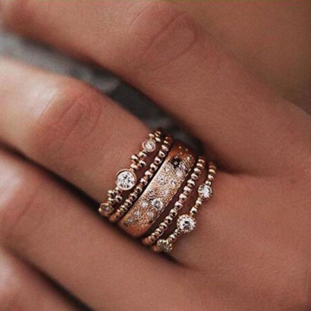 Wensltd 3-in-1 Womens Vintage White Diamond Silver Engagement Wedding Band Ring Set (#8, Gold)