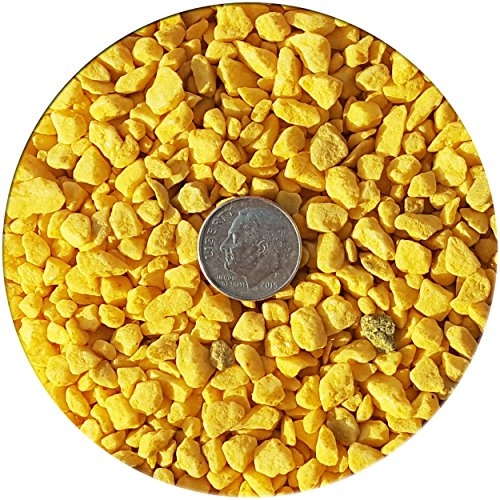 Taygum Decorative Gravel,Pebbles, Eco-Friendly, Various Colors, 2.2lb Bag 0.07″~0.2″ Thickness, for Landscaping, Gardening, Home-Deco, Vase Filler, Play Grounds, Aquariums (Yellow)