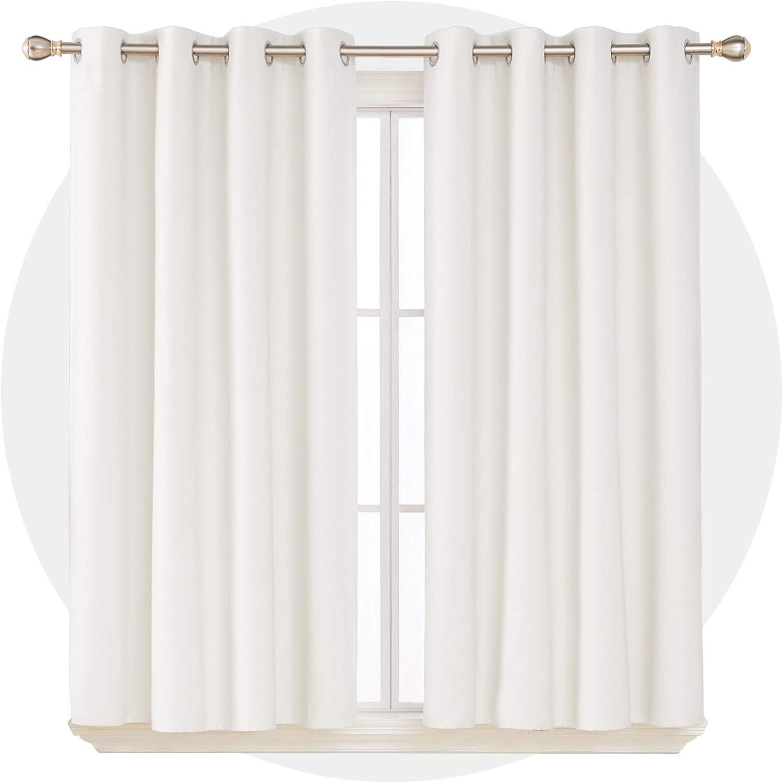 Deconovo Tende Oscuranti Totale Termiche Isolanti con Occhielli e Rivestimento Coprente per Cameretta Bambini 117x138cm 2 Pannelli Bianco