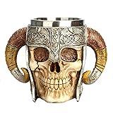 Aolvo Medieval Mug, Stainless Steel Ram Horned Viking Pirate Gothic Skull Mug Tankard Cup, Medieval Castle Lord Knight Skeleton Tankard Stein for Beer Wine Coffee Rum Drinking Water - 450 Ml(15 Oz)