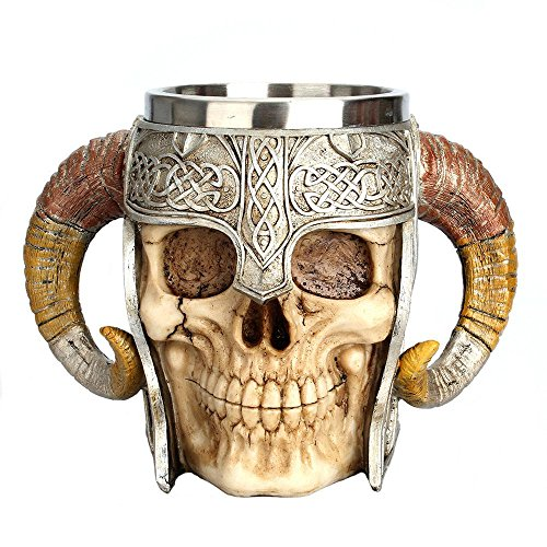 Aolvo Medieval Mug, Stainless Steel Ram Horned Viking Pirate Gothic Skull Mug Tankard Cup, Medieval Castle Lord Knight Skeleton Tankard Stein for Beer Wine Coffee Rum Drinking Water - 450 Ml(15 Oz)