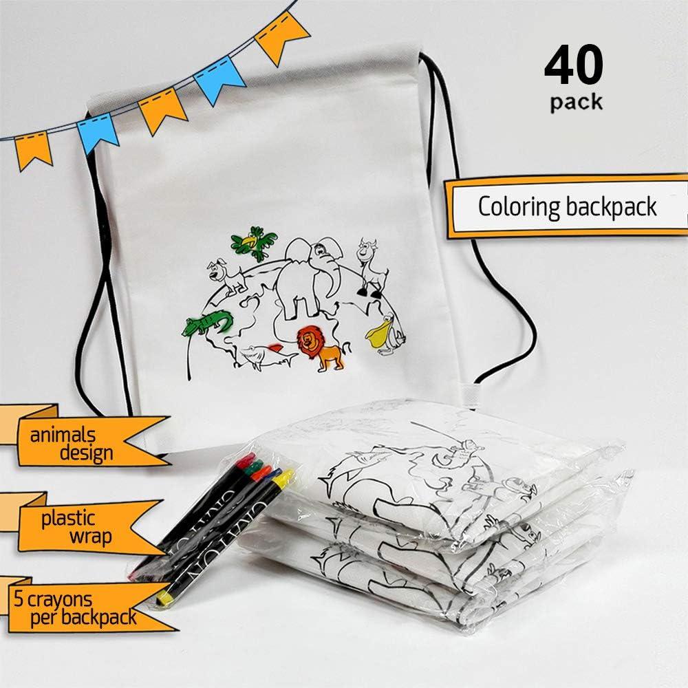 Ensemble de Sacs /à Dos /à colorier pour Enfants FUN FAN LINE/® avec Cinq Crayons de Cire en Cadeau dans Chaque Sac /à Dos! 30 Sacs /à Dos Id/éal pour Les Cadeaux pour Enfants