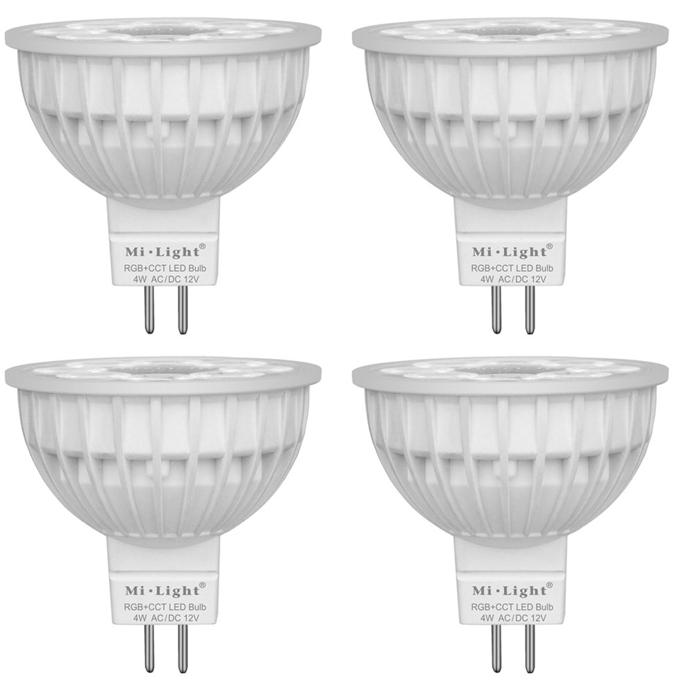 Pack of 4 Mi.Light 4W MR16 Led Bulb Spotlight GU5.3 Socket AC/DC 12V RGB+CCT Color and Temperature Changeable Dimmable Must Work with RGB+CCT Remote,B4 T4 Panel and Smartphone Control Via iBox Hub