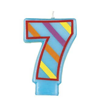 Amazon Decorative Striped Number 7 Birthday Candle Kitchen