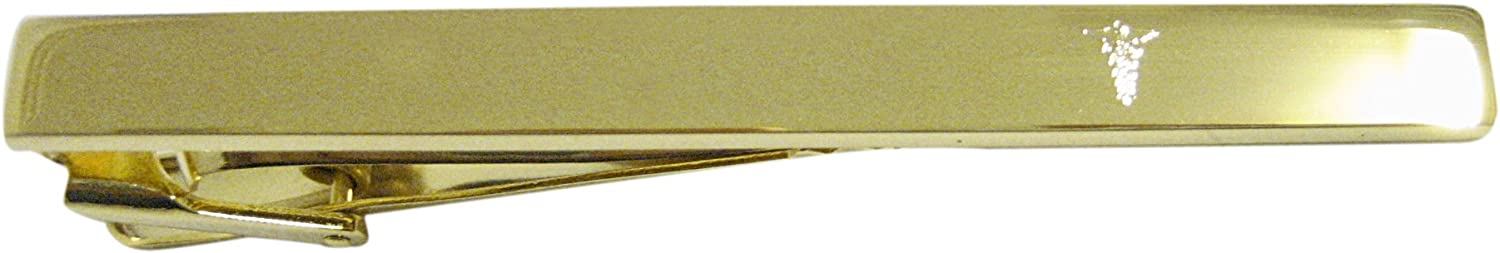 Kiola Designs Gold Toned Etched Small Caduceus Medical Symbol Square Tie Clip