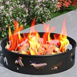 """Bear Moose Fox 28"""" Backyard Garden Home Star and Moon Light Wood Fire Pit Fire Ring. For RV, Camping, and Outdoor Fireplace. Works as Firewood Patio Heater, Stove or Firebowl without Propane Gas"""