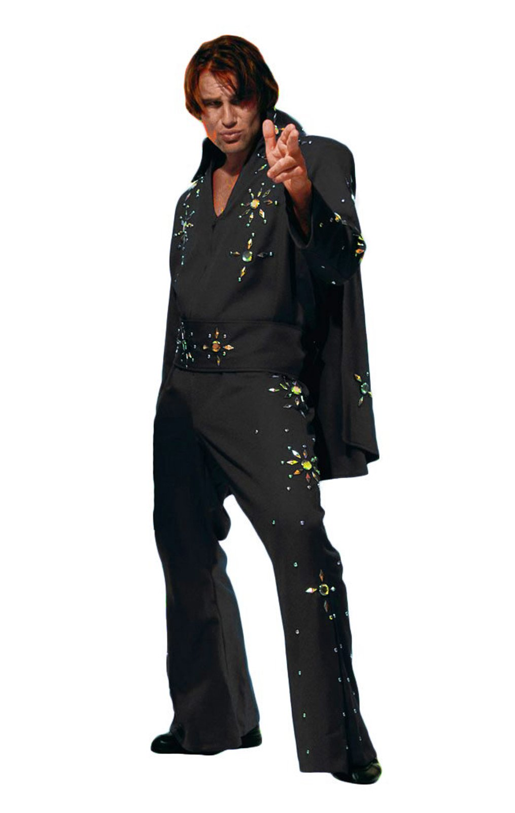 Men's Elvis Presley Deluxe Jumpsuit Costume with Cape (XL, Black (Red Stones))