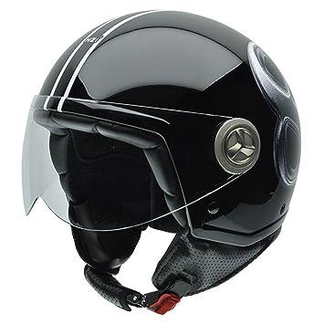 NZI 050260G692 Tonup Outward Casco de Moto, Diseño Bola Negra de Billar, Talla 60