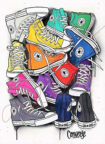 484720356e3f Amazon.com  Converse Shoes Wall Art Illustration Footwear PRINT ...