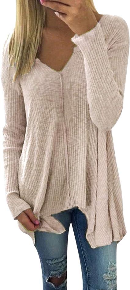 ZANZEA Women Long Sleeve Knitted Knitwear Sweaters Jumper Tops Blouse Shirt Plus