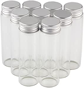 50ml Empty Seal Jars Glass Bottle with Aluminium Silver Color Screw Cap Sealed liquid Food Gift Container 12units (12, 50ML-LU-cap)