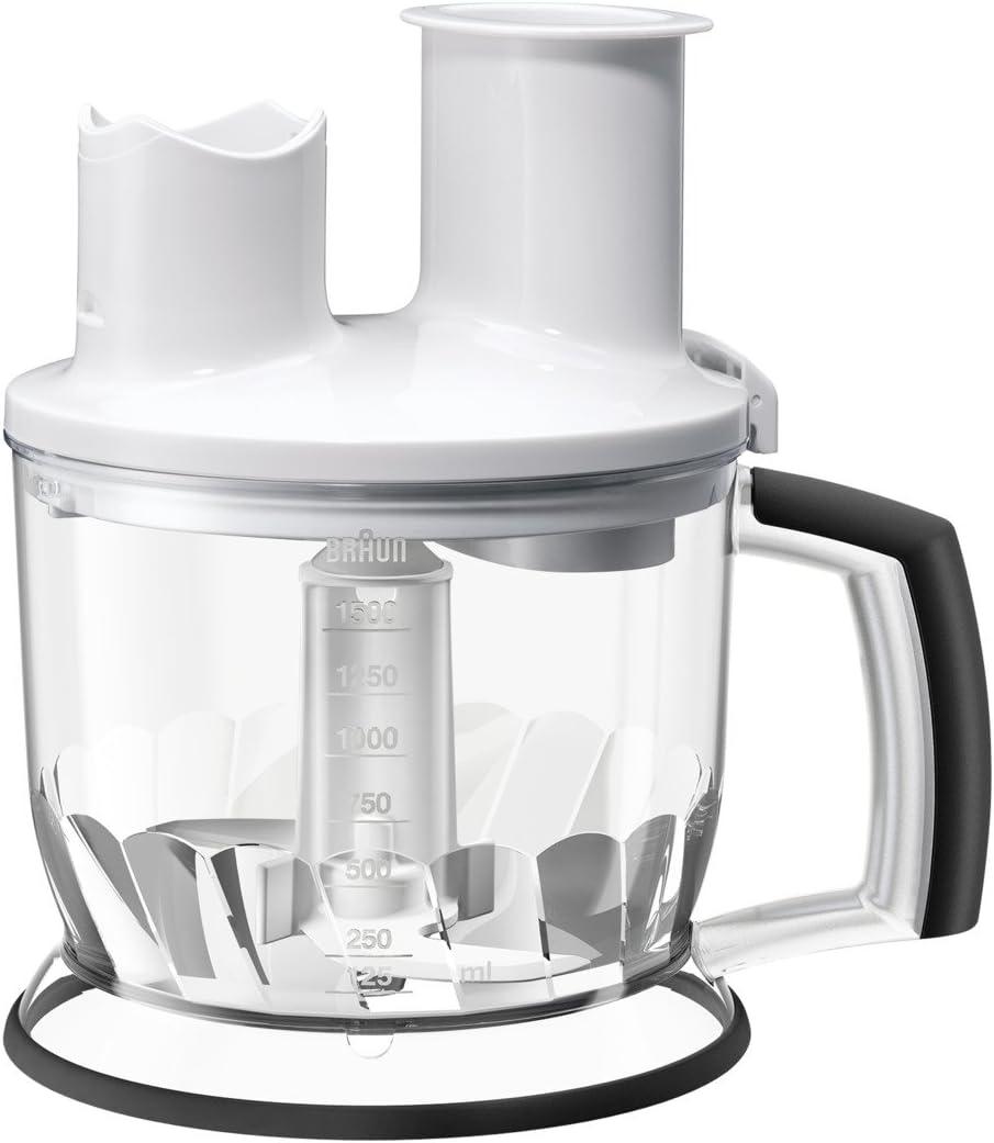 Braun Minipimer MQ70 Accesorio procesador de alimentos, 2 herramientas para triturar, 1.5 L, acero inoxidable, plástico, blanco