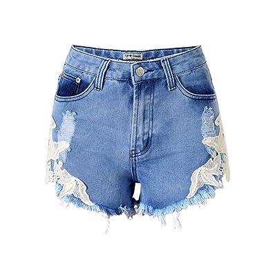 DorkasDE Damen Hotpants Jeans Shorts Kurze Denim Hosen Fransen Spitze  Verarbeiten Mädchen Shorts mit Quaste 1051c3d55d