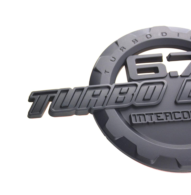 1 Pcs 6.7L Turbo Diesel Intercooleo 3D Badge Emblem Decal for Trunk Hood Door Tailgate Matt Black