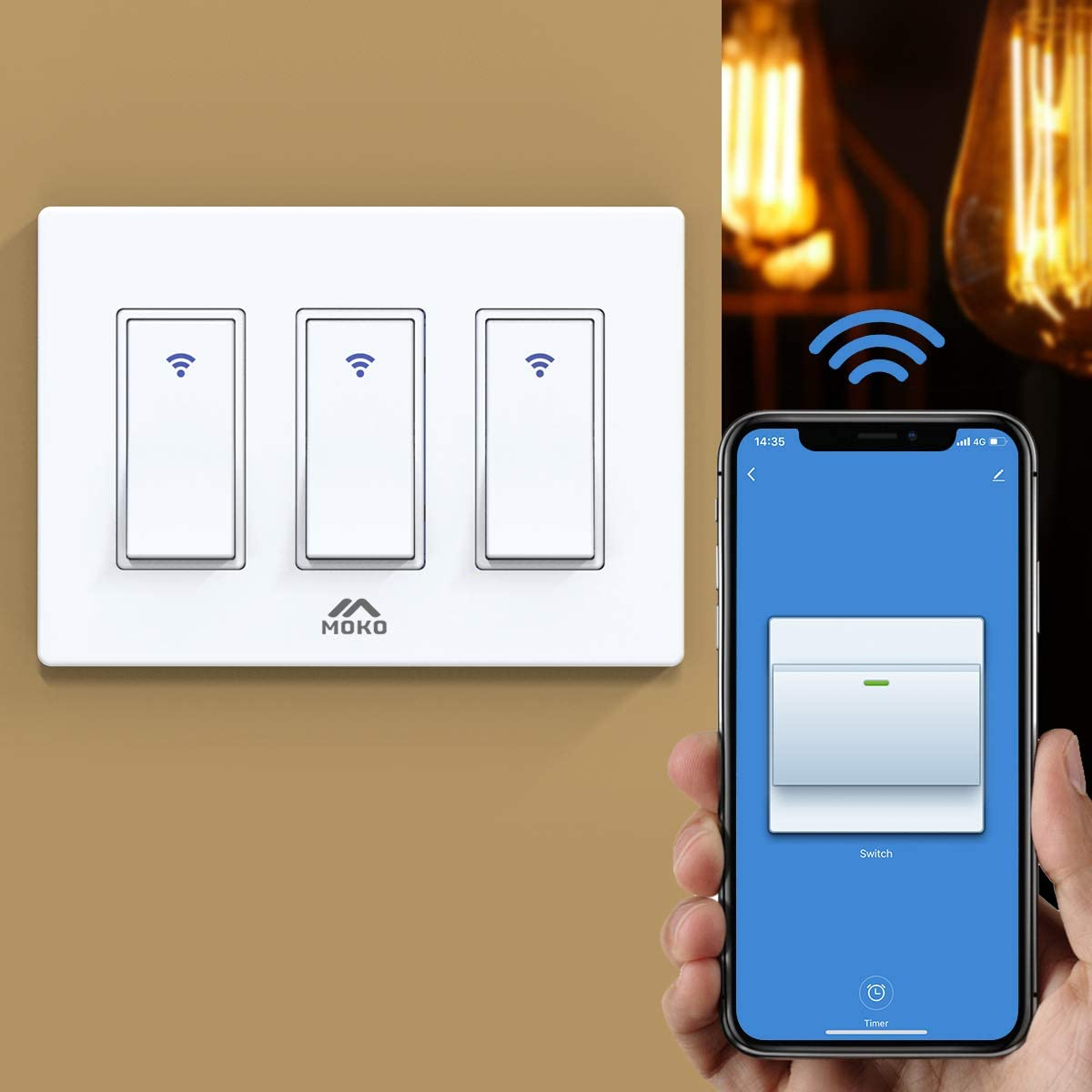 MoKo Smart Switch, 3 Gang WiFi Light Switch with Remote Control and Timer Schedule, Compatible with Alexa Echo, Google Home and, Neutral Wire Required, Easy Installation, Only Supports 2.4GHz