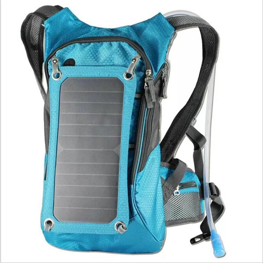 Hydration Backpack With 2L Bladder Bag And 6.5 Watts Solar Powered Panel Charging for iPhone, iPad, SAMSUNG, Mobile Phones, Tablets, And Other 5V Device (Blue)