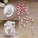 First Holy Communion Scented Rosary Favor - 12 Rosaries with individual Gift box and Organza Bag. (6mm, Pink)