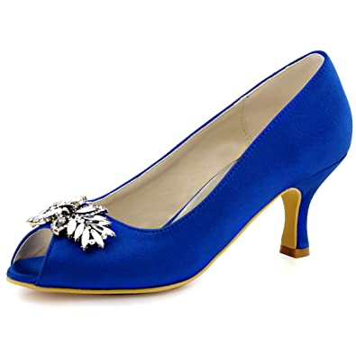 a8fde75fb97 ElegantPark HP1540 Women Pumps Comfort Heel Peep Toe Leaf Rhinestones Satin  Evening Prom Wedding Shoes Blue