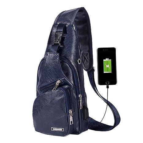 a10f280d98ad Men's Leather Sling Bag Chest Shoulder Backpack Crossbody Bag with USB  Charging Port Dark Blue