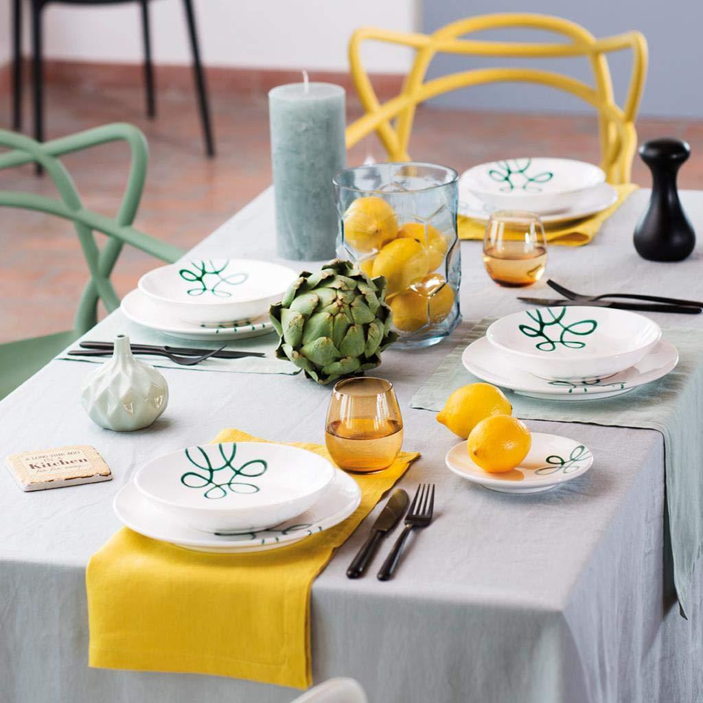 handgemacht in /Österreich GMUNDNER KERAMIK Breakfast for Two Classic Geschirrset Pur Geflammt Gr/ün Geschirr