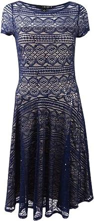 Sangria Womens Sequin Lace Dress Dress