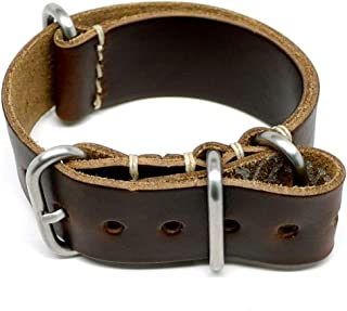 product image for DaLuca Military Watch Strap - Brown Chromexcel (Matte Buckle) : 18mm