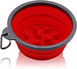 N/E Collapsible Dog Bowl &Slow Feed Dog Bowl Stops Dog Food Gulping Bloat and Rapid Eating Red
