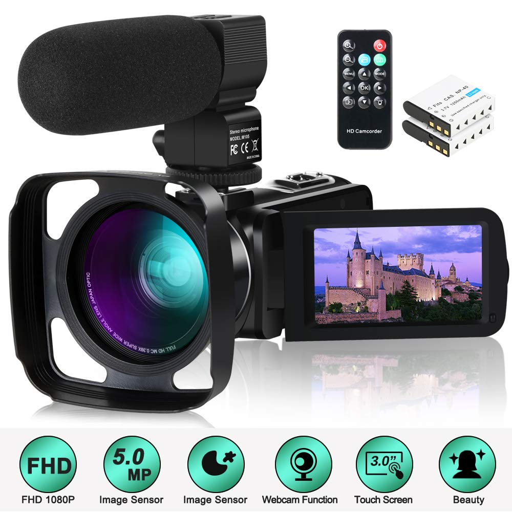 Camcorder Video Camera,ACTITOP 1080P 30FPS IR Night Vision YouTube Vlog Camera 16X Digital Zoom Touch Screen Video Recorder with Microphone,Wide Angle Lens,Remote Control,2 Batteries and Lens Hood by ACTITOP