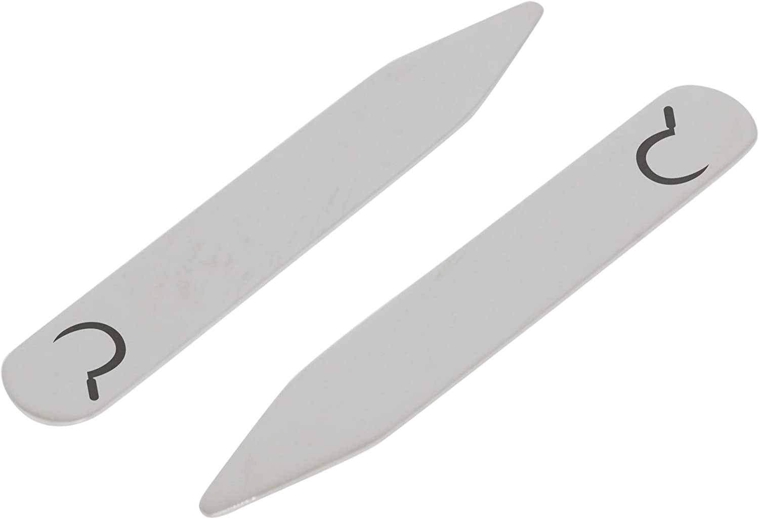 MODERN GOODS SHOP Stainless Steel Collar Stays With Laser Engraved Scythe Design 2.5 Inch Metal Collar Stiffeners Made In USA