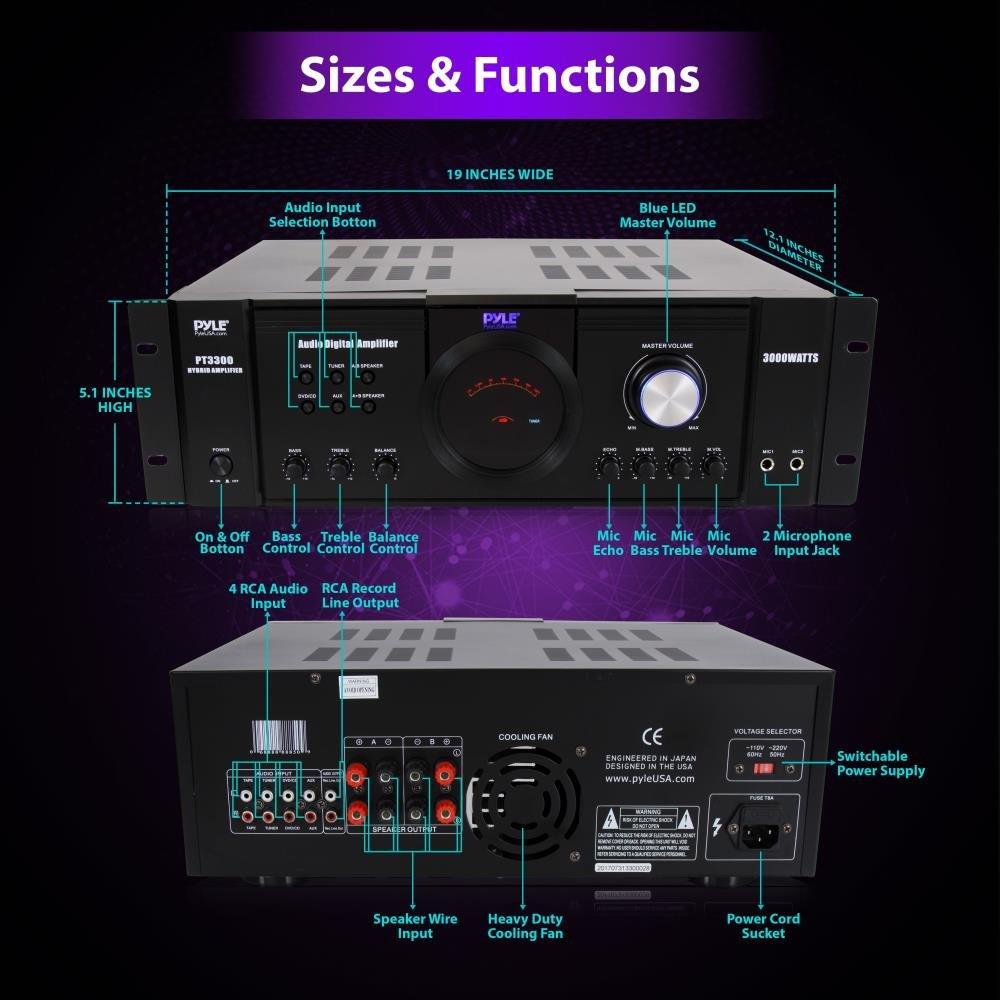 Pyle 3000 Watt Premium Home Audio Power Amplifier Circuit Diagram For 32w Hifi Portable 4 Channel Surround Sound Stereo Receiver W Speaker Selector Remote