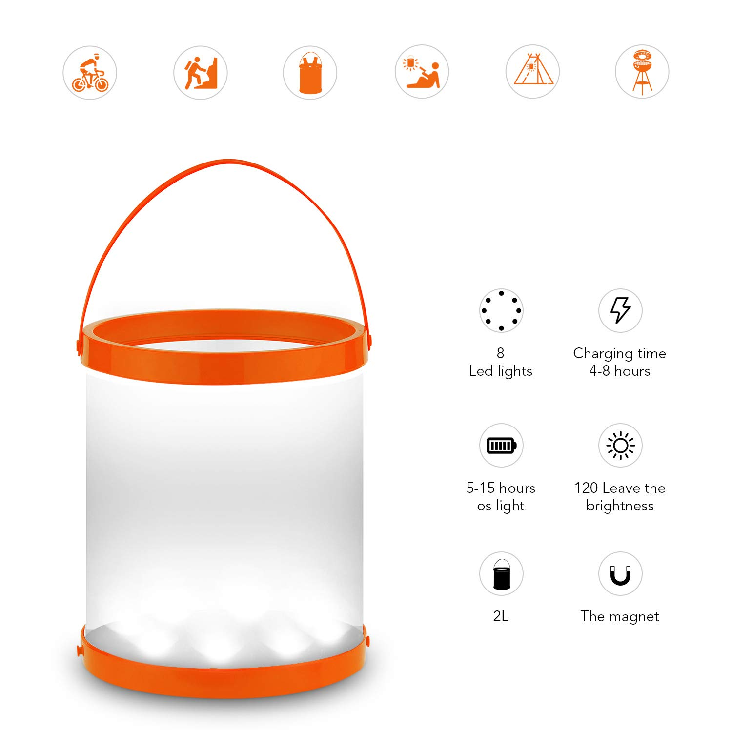 GOGO Lantern Solar Powered LED Camping with Magnet USB Port Charge Solar Panel Portable Collapsible Waterproof Lamp for Ice Bucket BBQ Fishing Hiking Tent Garden