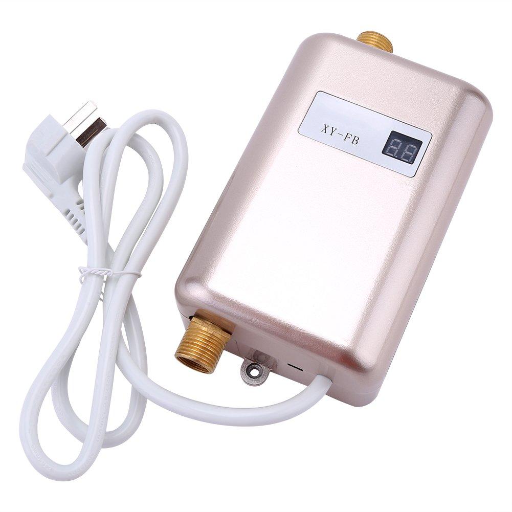 220V 3400W Calentador de Agua Caliente Instantáneo Eléctrico Mini Calentador de Agua Tankless Calentador de Agua Para El Baño Cocina Lavado(Black): ...