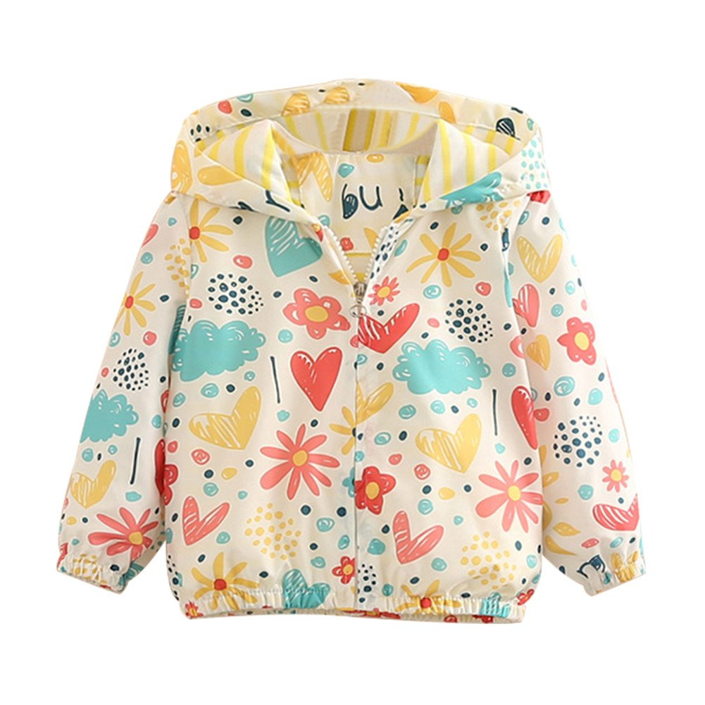 Mud Kingdom Little Girls Colorful Catoon Print Hooded Jacket Outerwear Love Cloud 4T