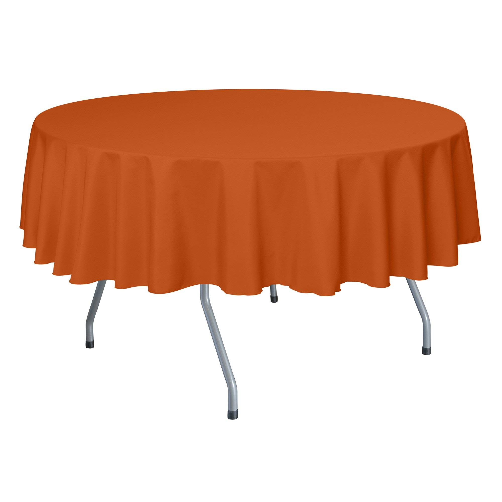 Ultimate Textile -10 Pack- 72-Inch Round Polyester Linen Tablecloth, Orange