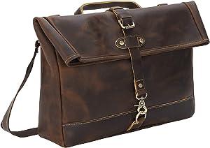 Polare Vintage Full Grain Leather Messenger Bag for Men Laptop Bag Briefcase Satchel School Work Bag