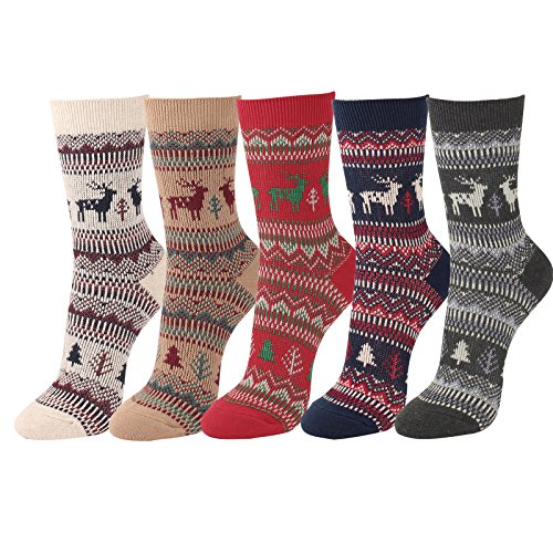 WOWFOOT Women's Jacquard-Knit Cotton Socks Lady Winter Full Fashioned Girl Hosiery (C Deer-5pair)