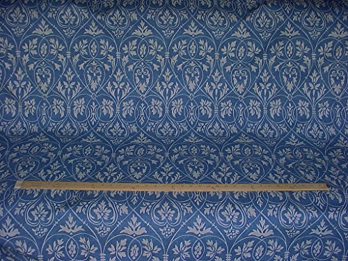 P Kaufmann / Braemore / Waverly Tracery in Denim - Blue Floral / Scroll / Filigree Tracery Cotton Print Designer Upholstery Drapery Fabric - By the Yard (Kravet Floral Tapestry Upholstery Fabric)