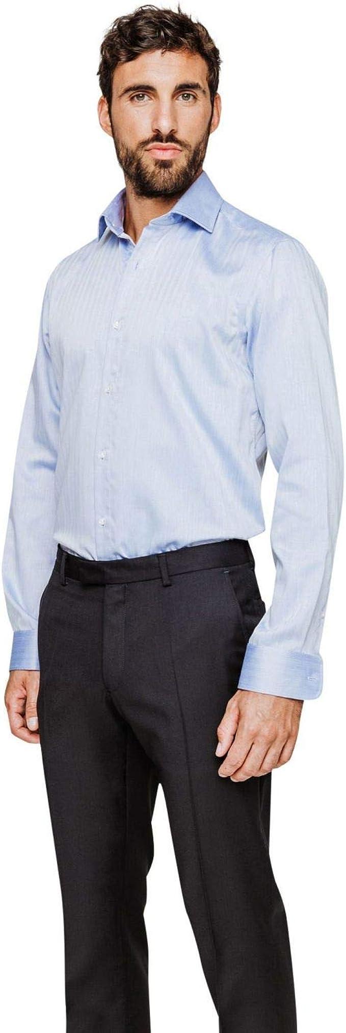 Arrow - Camisa normal sin planchar, color azul marino