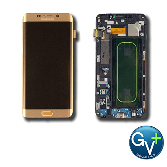 Group Vertical Replacement Screen Complete Frame AMOLED Digitizer Assembly  Compatible with Samsung Galaxy S6 Edge Plus (Gold Platinum) (SM-G928V) (GV+