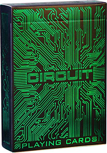 Circuit Neon Green Playing Cards, Creative Deck of Cards, Premium Card Deck, Cool Poker Cards, Unique Bright Colors for Kids & Adults, Computer Themed, Black Playing Cards