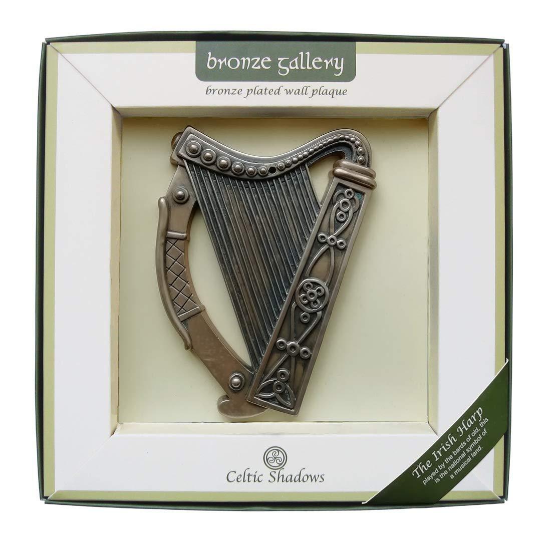 Royal Tara Bronze Plated Wall Plaque With Irish Harp Design 16cm X 13cm