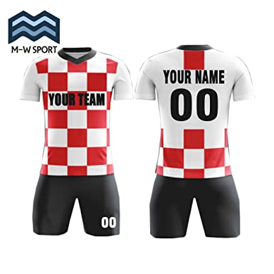 76d680b0d Custom Red and White Plaid Design Jerseys Customized Name and Number for  Your Soccer Team (
