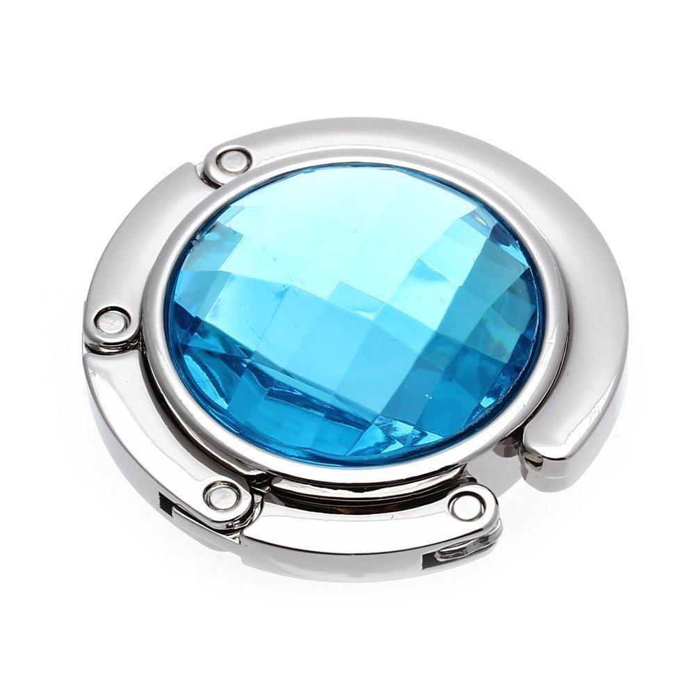 SODIAL(R)Attache/Crochet pliant de sac A main en cristal portable Bleu ciel