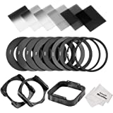 Neewer Square Lens Filter and Accessory Kit for Cokin P Series: 6 Full and Graduated ND2 ND4 ND8 Filters, 9 Adapter Rings(49-82mm), 1 Lens Hood, 2 Filter Holders, 1 Filter Carrying Pouch